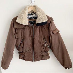 Nils   Bomber Style Ski Jacket Faux Fur Collar
